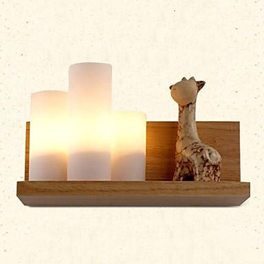 Wall  Lamp light, Three Lights, Oak and Glass, 220~240V