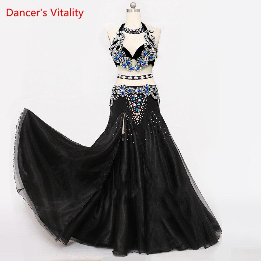 Роскошные заказ танец живота костюмы бюстгальтер + blet + Цепочки и ожерелья + юбка Комплект из 4 предметов для Для женщин танец живота конкурен