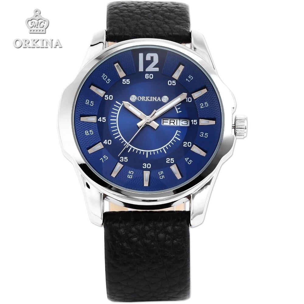 Orkina 2016 Blue Business Fashion Watch Men Fashion Quartz Auto Date Day Calendar Male Dress Black