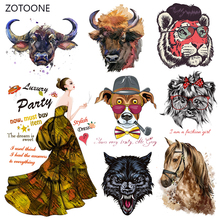 ZOTOONE Punk Tiger Horse Patches Heat Transfer Dog Iron on Patch for T-Shirt Children Gift DIY Clothes Stickers I