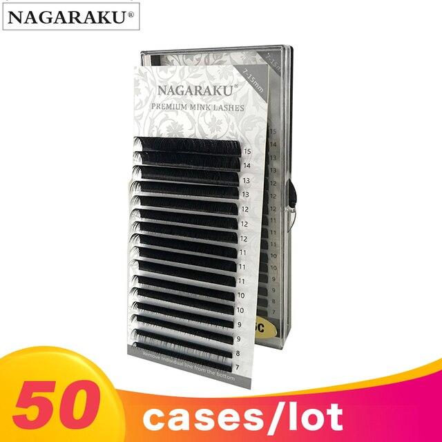 NAGARAKU faux cils individuels en poils de vison de haute qualité, 7 à 15mm, 50 boîtes