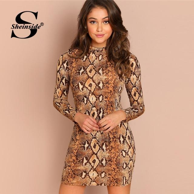 Sheinside Snake Skin Women Mock Neck Animal Print Dress Elegant Office  Ladies Mini Dresses 2018 Brown Long Sleeve Bodycon Dress eb27ecda0e4a