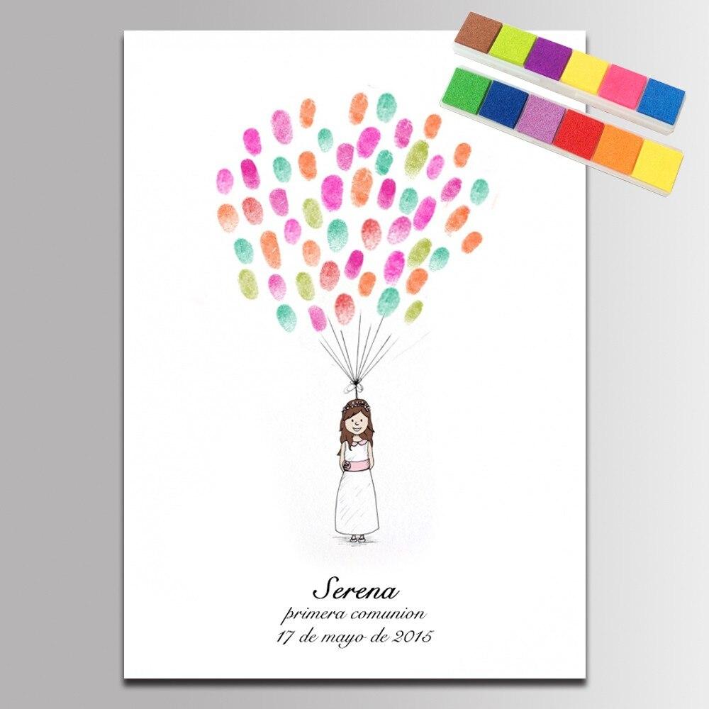 Baby Shower Decorations DIY Guest Book Pink Dandelion Finger ...