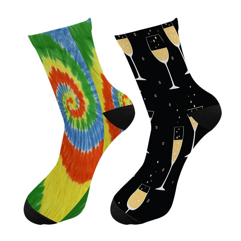 New 3d Printed Starry Sky Men Crew Tube Socks Fashion Trend Meteor Long Socks Street Causal Wine Glasses Rainbow Crew Socks