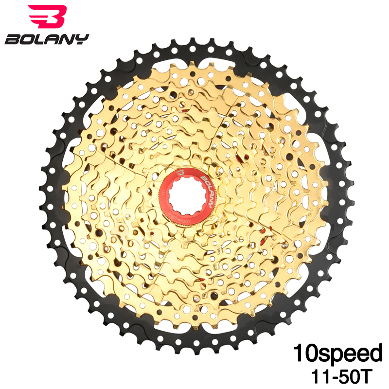 BOLANY 10 Speed Gold Cassette 11 50T Wide Ratio Freewheel Mountain Bike MTB Bicycle Cassette Sprocket