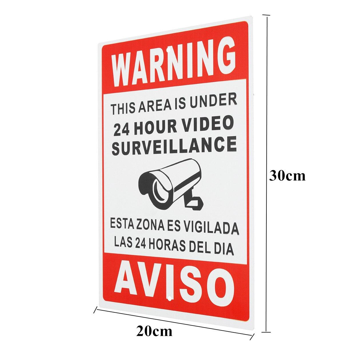 1 шт. 20X30 см из металла 24 часа видео наблюдения безопасности Предупреждение знак CCTV Камера знак