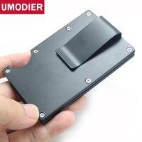 UMODIER Aluminum Wallet Man Rfid blocking SIim metal Business card holder Case Protector Travel Mini Purse