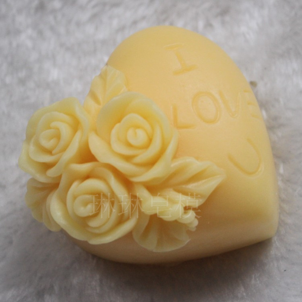 Rose Mold Heart Shaped Silicone Soap Candle Mold Handcrafted Soap Making Mould