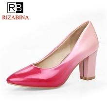 RizaBina Ladies High Heel Shoes Women Pumps Thick High Heels Pointed Toe Shoes Fashion Women s
