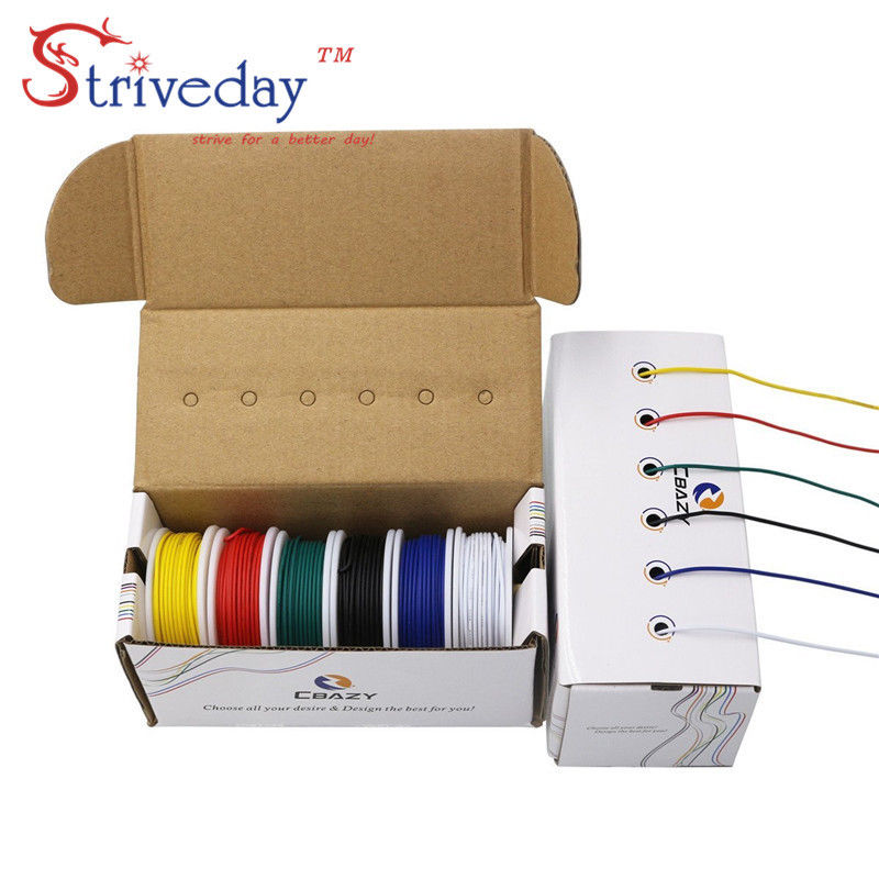 18 /20 /22 /24 /26 /28 awg ( 6 colors Mix Stranded Wire Kit ) Electrical Wire Cable Line Airline Copper PCB Wire bhf 24 26 28 с 18
