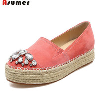 Asumer Loafers Shoes Rhinestone Solid Kid Suede Leather Shoes Top Quality Women Shoes Fashion Comfortable Flat