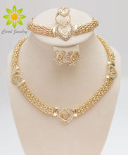 Free Shipping Dubai Gold Color Heart Shape Necklace Set Fashion Crystal Wedding Bridal Costume Jewelry Ses(China)