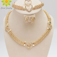 Necklace-Set Jewelry Crystal Wedding-Bridal-Costume Gold-Color Dubai Fashion Heart Ses