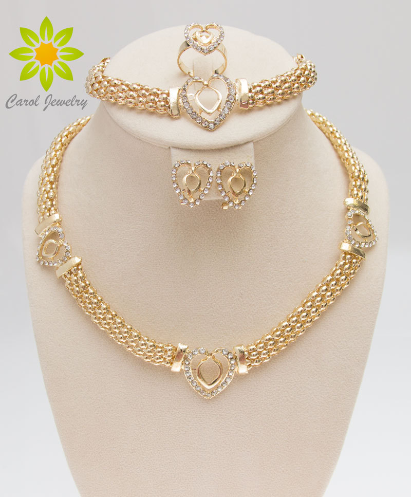 Free Shipping Dubai Gold Color Heart Shape Necklace Set Fashion Crystal Wedding Bridal Costume Jewelry Ses