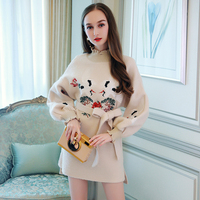 Miuco2017 Embroidery Sweater Dress Casual Ruffle Hem Lacing Knitted One Piece Dress Female