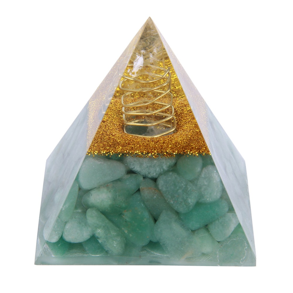 60mm Natural Green Aventurine Tumbled Stones Orgone Pyramid Enhance Courage Crystal Gemstone Healing EMF Protect