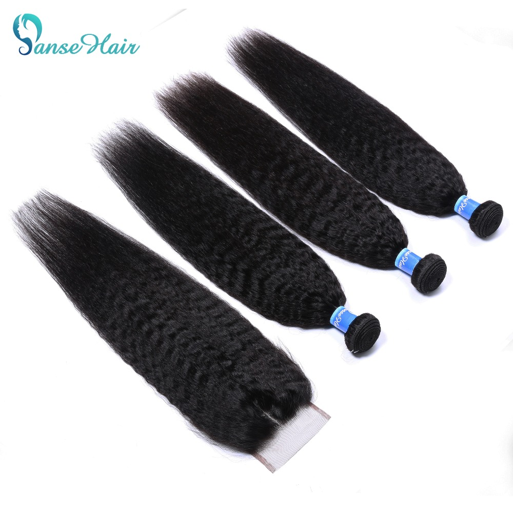 Panse Kinky Straight Brazilian Hair Weave With Closure Human Hair 3 Bundles With Closure Non-Remy Coarse Yaki Free Shipping