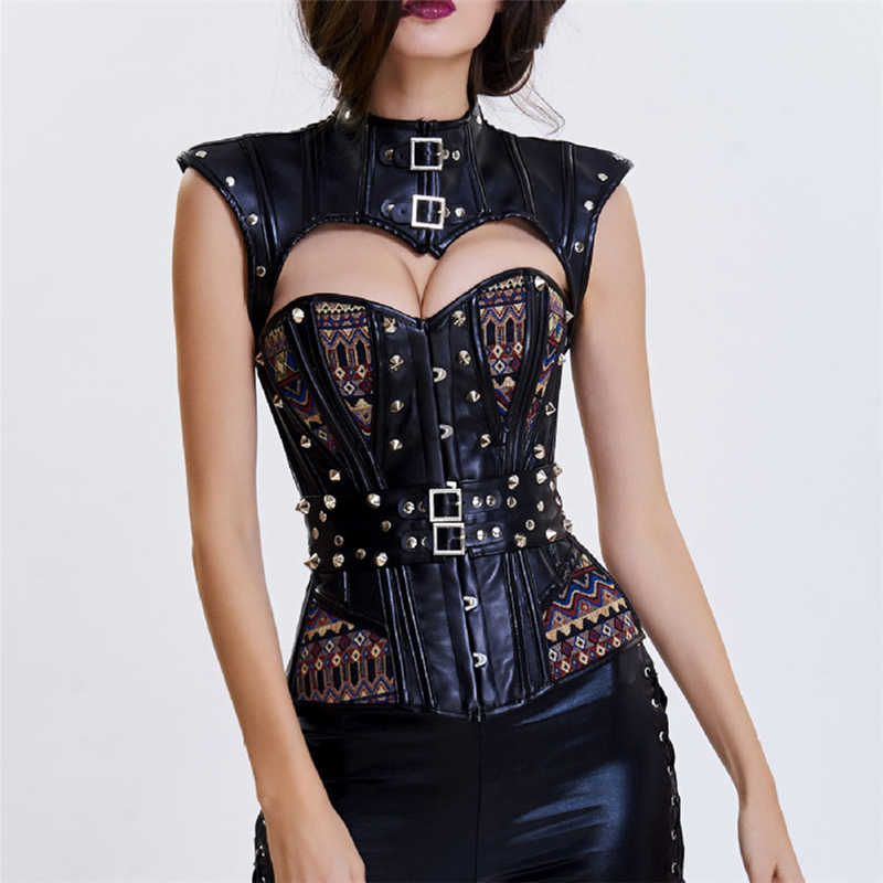 Black Leather With Rivets Corsets And Bustiers Burlesque Korsett For Women Sexy Corset Steampunk Costume Vintage Gothic Clothing