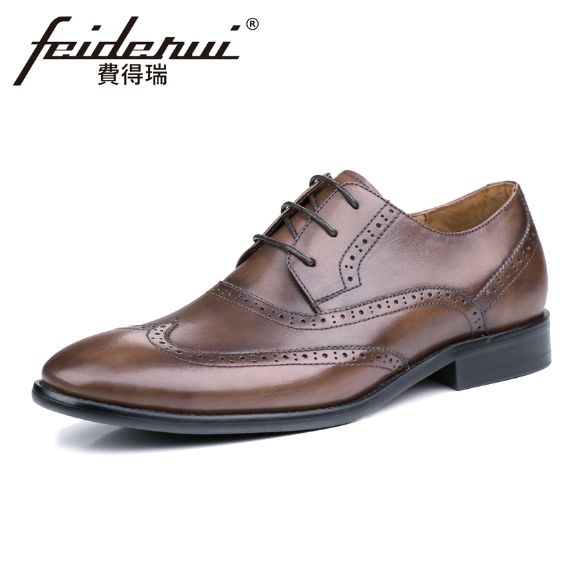 Luxury British Genuine Leather Men's Handmade Oxfords Round Toe Lace-up Man Party Flats Formal Dress Wingtip Brogue Shoes KUD53 цена и фото