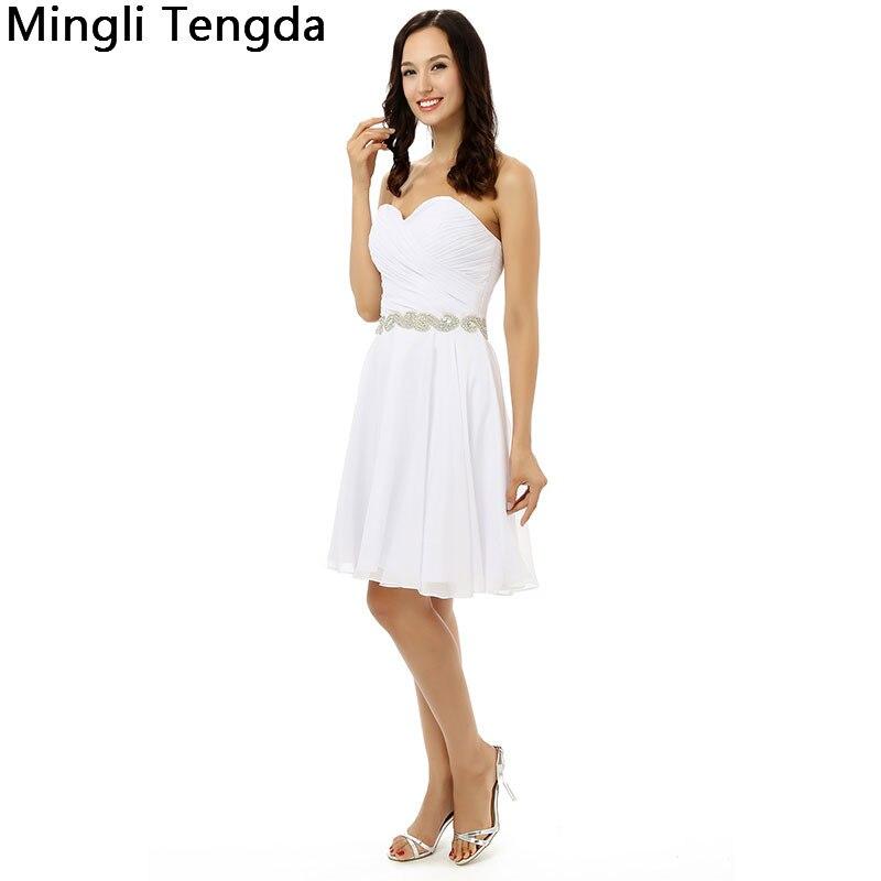 Mingli Tengda nouvelles robes de Demoiselle d'honneur en mousseline de soie ivoire Robe de Demoiselle d'honneur plissée avec des ceintures de perles chérie Robe Demoiselle D'honn - 3