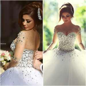 2019 Vestidos De Novia Long Ball Gown Crystal Beading Tulle Wedding Dresses Full Sleeve Bridal Dress Lace Up Custom Made ZY3249 - DISCOUNT ITEM  18% OFF All Category