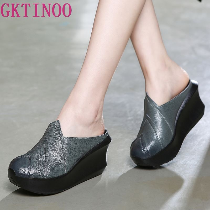 GKTINOO 2019 Genuine Leather Women Slippers 8 CM High Heels Wedges Summer Shoes Platform Retro Handmade