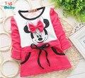 2015 Autumn girls dress  girls Minnie Mouse New Kids bottoming shirt long sleeve t-shirt 2-5years rose red