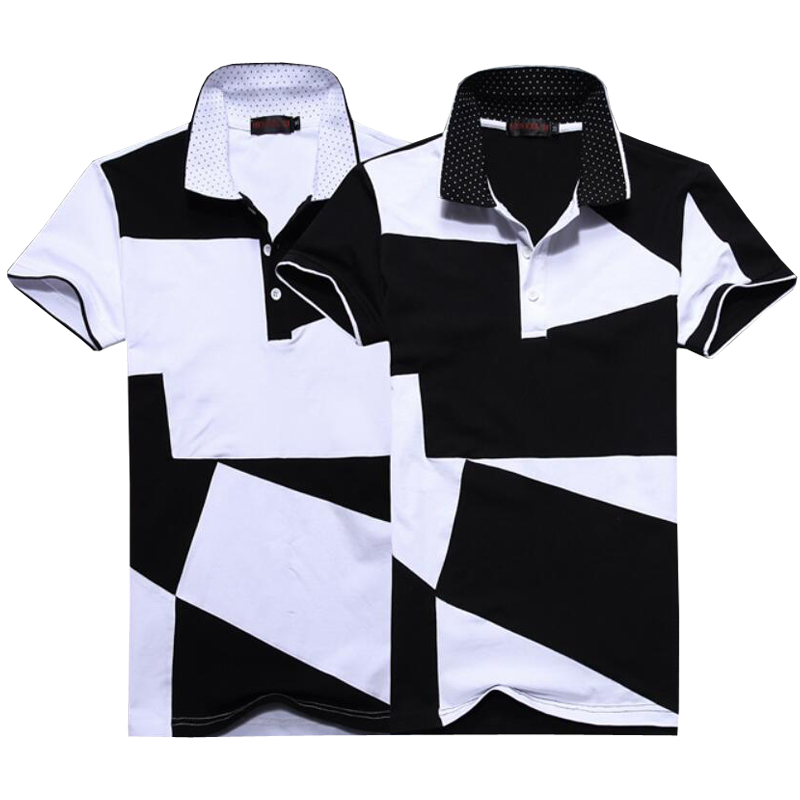 2018 Summer New Men Polo Shirt Brands Black And White Patchwork Polo Shirts Homme Cotton Slim Short-sleeve Camisa Polo 5XL 6XL