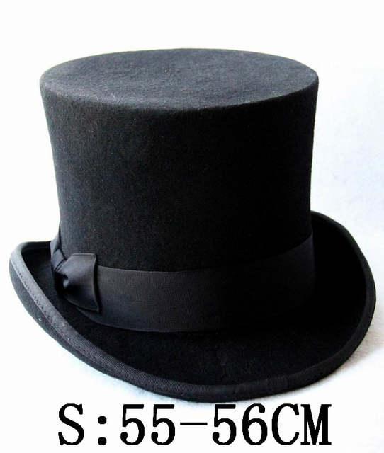 26d31b25078190 Black Child Steampunk Hat DIY Kids Top Hat Vintage Boy girl Traditional  Wool Fedoras Hat Beaver