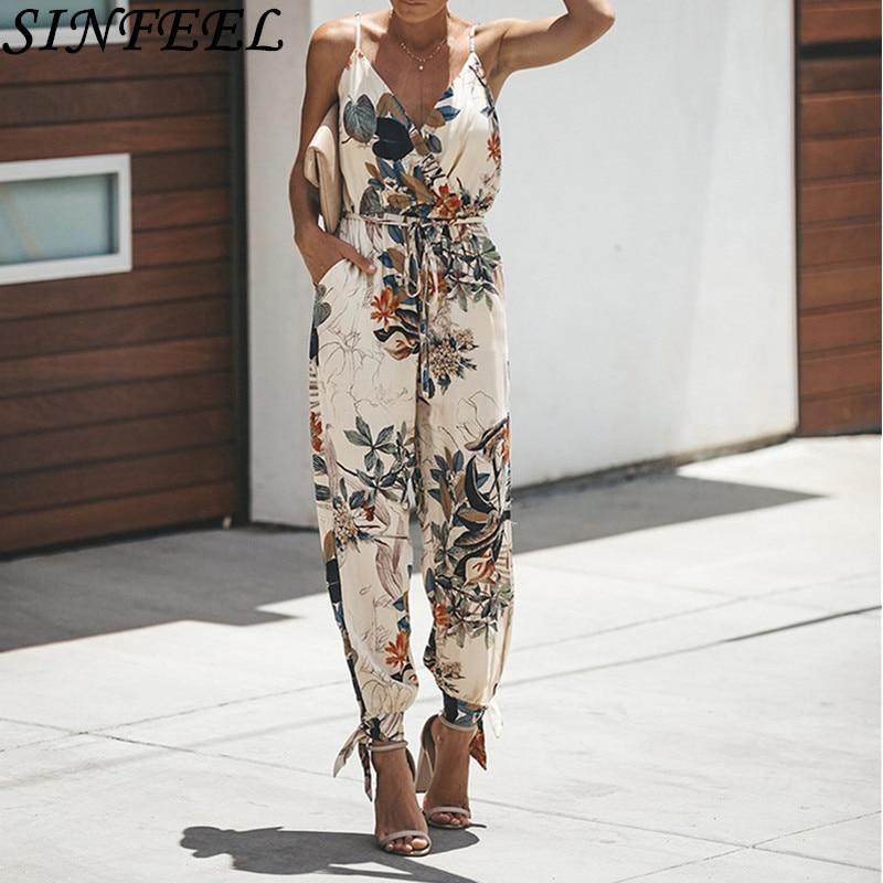 Sexy Women Summer   Jumpsuit   Floral Print Sleeveless High Waist Ladies Clubwear Deep V Neck Playsuit Bodycon Party Romper   Jumpsuit