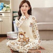 Long Sleeve Cartoon Bear Cute Pajamas Female Winter WomenS Clothing 2018 Soft Sleepwear Set