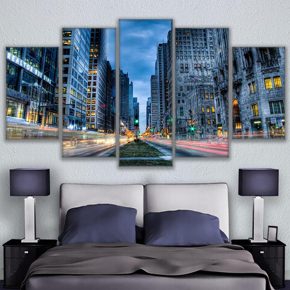 Chicago Home Decor Stores: Aliexpress.com : Buy 5 Pieces Canvas Printed Chicago Busy