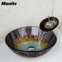 Washbasin 2014 Tempered Glass Hand Painted Waterfall 41528370 1 Lavatory Bathroom Sink Bath Combine Brass Faucets