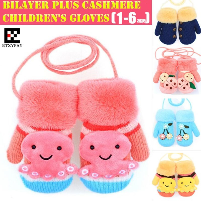 300p! Children Winter Warm Gloves,Boys&Girls Cute Cartoon Wool Rabbit Hair Knitted Mittens,2X Thickened Soft Gloves For 1-6 Age
