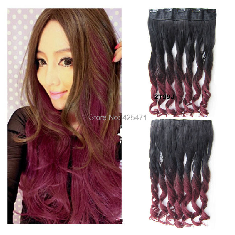 Aliexpress buy 24inch60cm black to burgundy ombre dip dye aliexpress buy 24inch60cm black to burgundy ombre dip dye curly clip in hair extensions from reliable clip extension hair suppliers on anogol pmusecretfo Images