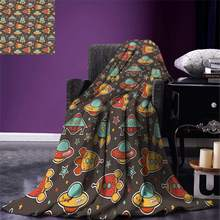 Space Throw Outer Space Elements Rockets UFO and Crafts Stars Heavenly Bodies Funny Alien Cartoon Warm Microfiber Blanket(China)