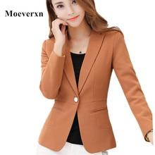 Office Outwear Jacket Women Blazer 2017 High Quality Womens Spring Autumn Long Sleeve Turn Down Collar Single Button Work Wear
