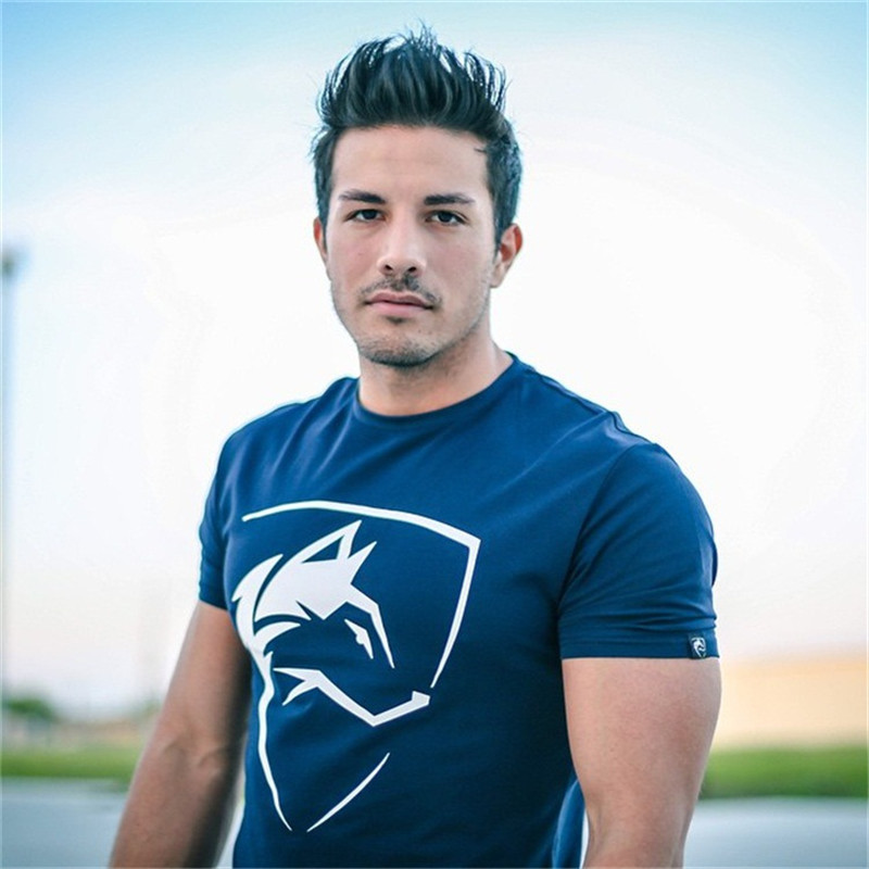 2018 Summer Gyms Casual Wolf Print T shirt Fitness Bodybuilding Tight Shirts Short Sleeve Man Sporting Brand Tees Tops Clothes
