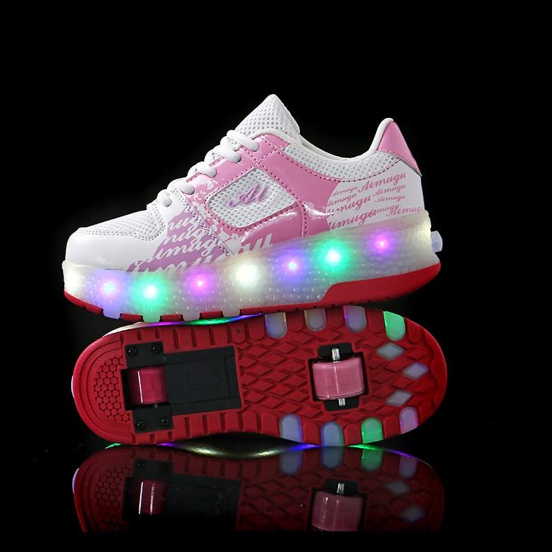 Offre spéciale enfants garçons chaussures avec deux roues enfants chaussures brillant baskets lumière LED up enfants chaussures pour garçon fille brillant chaussure rose