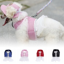 Summer Pet Chest Dress Soft Breathable Dog Harness Cat Pink Beauty Clothes Girl Strap Collar Leash XS-XL