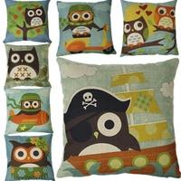 Custom sofa bed cartoon decorative owl pillows Linen Woodpecker Pillow Case For Office Chair 45X45CM Square Pillow cushion cover
