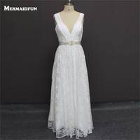2018 Real Photos Beach Style Sexy Deep V Neck Lace Beaded Sashes Wedding Dresses Charming New Wedding Gown Robe De Marriage