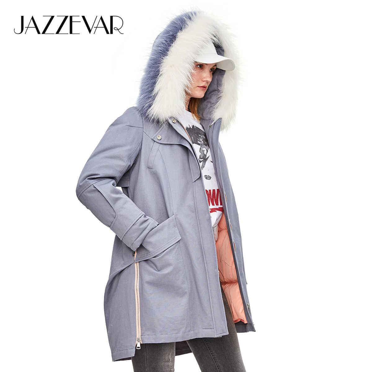 JAZZEVAR 2019 Inverno Novo Safari Estilo Ocasional das Mulheres Para Baixo Guaxinim Casaco Gola de Pele Zipper Casaco Com Capuz Parka Qualidade Superior z18004
