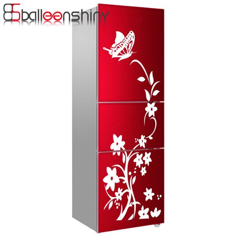 Balleenshiny холодильник Стикеры бабочки Наклейки на стену Домашний Декор Кухня винил цветок белый черный Высокое качество