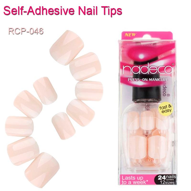 24pcs Acrylic Nude Pink French Tip Nails Self Adhesive Pastel Pink ...