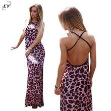 Summer Maxi Dress BOHO Dress Women 2017 Pink Leopard Print Sexy Club Sleeveless Backless Dresses Bandage Long Dress vestidos