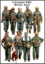 Free Shipping 1/35 Scale Unpainted Resin Figure  WWII US Marines Pacific Area 9 figures