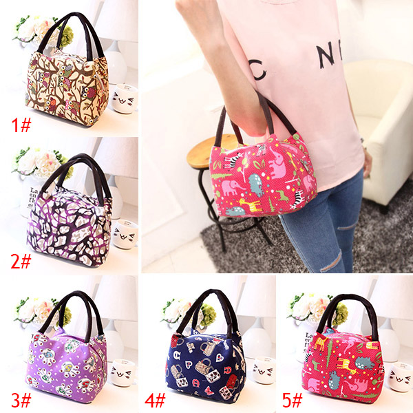 Portable Lunch Bag Owl Palm Totem Graffiti Insulated Canvas Food Picnic Bags For Women Kids Lunchbox Handbag ALS88