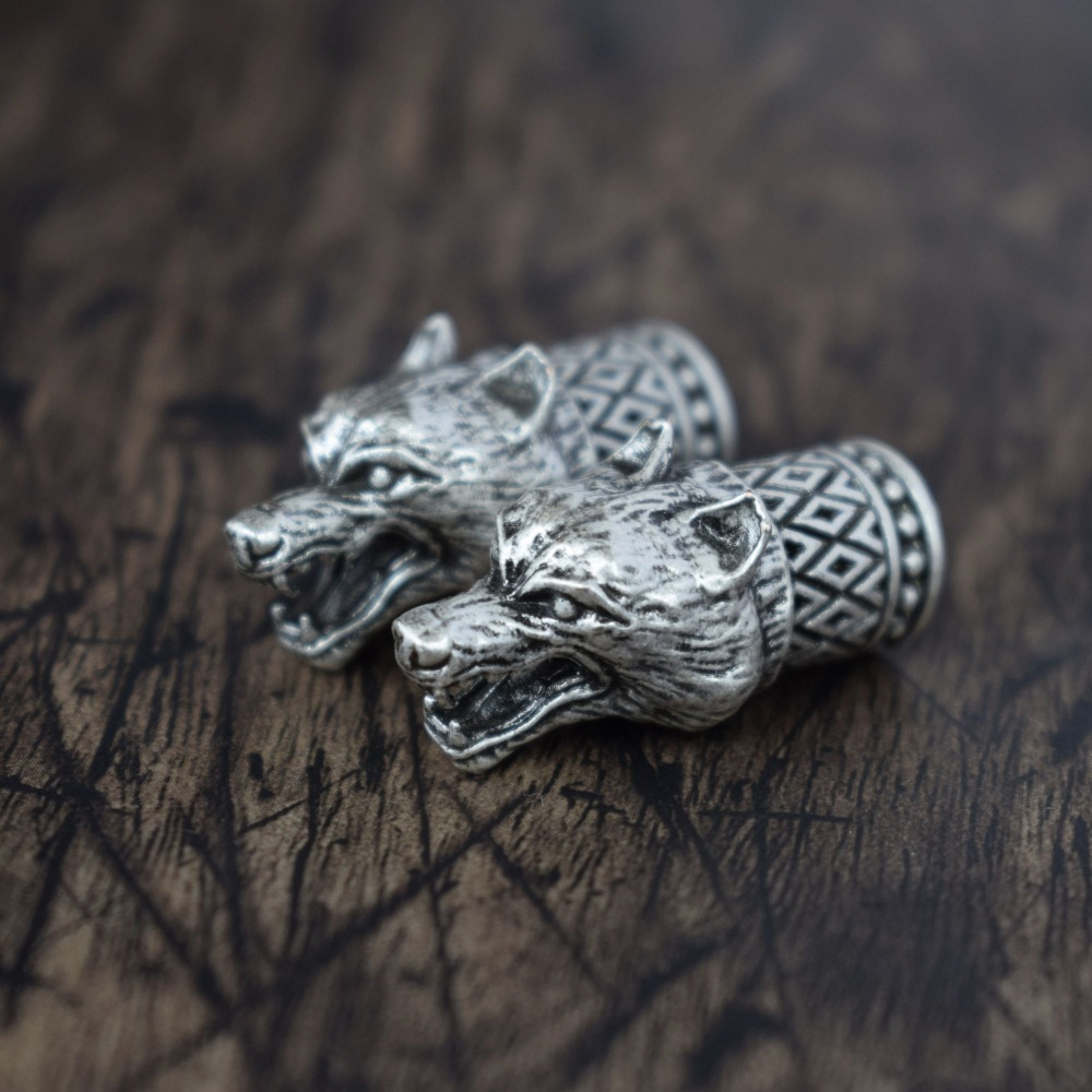 100x 304 Stainless Steel Wolf Head Bead Jewelry Making DIY Craft Antique Silver