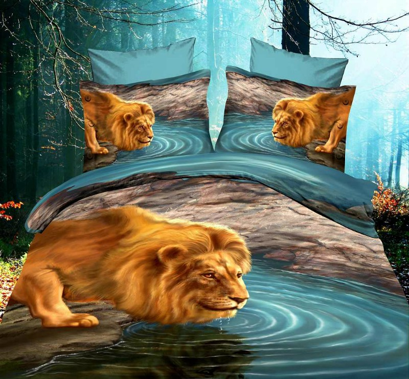 3d Lion Bedding Sets Aqua Queen Size Duvet Cover Bed In A Bag 100 Cotton Bed Sheets Bedspread